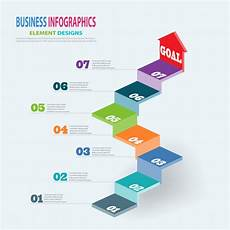 infographics business template 3d stairs with arrow steps for presentation sale forecast web