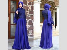 Newest Turkish Muslim Evening Dresses Hijab Long Sleeves