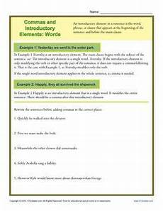 commas and introductory elements phrases k12 punctuation worksheets punctuation activities