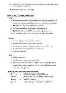 resume system admin