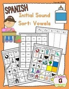 beginning sound recognition initial sound word sort vowels aeiou spanish spanish la