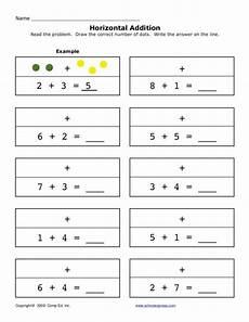 addition worksheets horizontal 8877 horizontal addition 2 worksheet for pre k 1st grade lesson planet