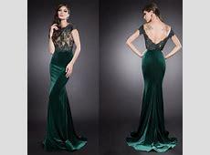 Vestidos Dark Green Velvet Mermaid Evening Gowns
