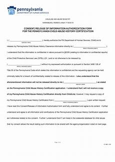 pa dhs form consent release of information authorization form for the pennsylvania child abuse