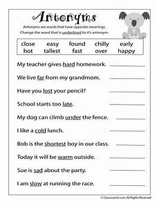 free printable antonym worksheet language arts worksheets 3rd grade reading 2nd grade worksheets
