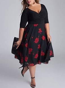 plus size kleider plus size retro look midi dress three quarter length