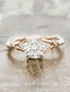 pembroke leaf prong diamond engagement ring rose gold ken dana