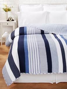 blue white stripe full queen quilt set nantucket nautical beach comforter ebay