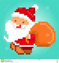 pixel art santa claus delivering gifts christmas card stock vector illustration 76002159