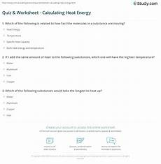 quiz worksheet calculating heat energy study com