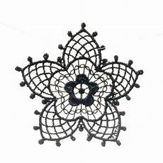 black vintage flower motif 48mm black trim v v rouleaux