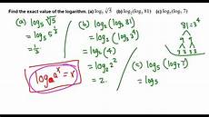 finding exact value of logarithm without calculator