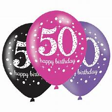 6 X 50th Birthday Balloons Black Pink Lilac