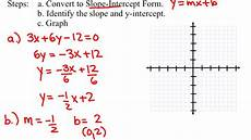convert from general form to slope intercept form youtube