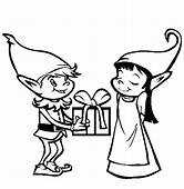 Give Cute Gift Christmas Elf Print Coloring Pages Free
