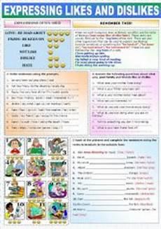 english worksheet expressing likes and dislikes
