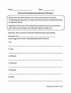 worksheets subordinating conjunctions englishlinx com conjunctions worksheets