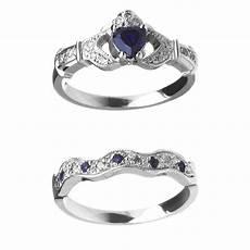 14k sapphire diamond claddagh engagement wedding ring