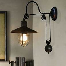 farmhouse pulley adjustable wall sconce cone shade wall light with wire cage ebay