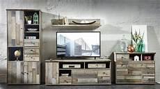 Shabby Möbel Günstig - wohnwand wohnzimmer set 4 tlg schrank kommode lowboard
