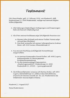 Testament Selbst Schreiben - 11 gro 223 artig testament schreiben handschriftlich muster
