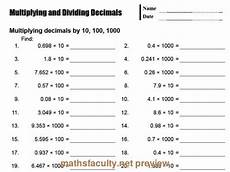 multiplying decimals worksheets by 10 and 100 7065 drills decimal and multiplying decimals on
