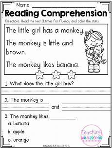 kindergarten reading comprehension 1 tpt literacy