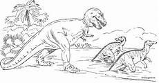 dinosaur tyrannosaurus chasing trachodons coloring page