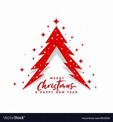 merry christmas creative tree design with stars vector image