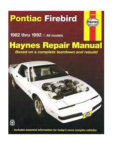 free car manuals to download 1999 pontiac firebird formula electronic valve timing 1982 1992 pontiac firebird haynes repair manual