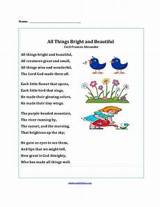poetry worksheet for grade 5 25419 all things bright and beautiful poetry worksheets poetry comprehension worksheets poetry