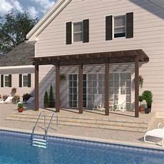 integra 20 ft 12 ft brown aluminum attached open lattice pergola with 5 posts maximum roof