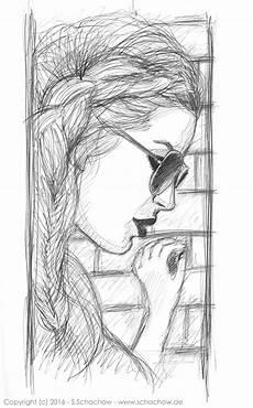 bleistift zeichnung einer frau mit sonnenbrille http www