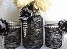 black and white lace wedding decorations black lace jars black and white lace covered jars wedding decor bridal shower