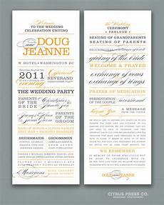 what to include in your wedding program citrus press co