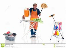 faire du repassage à domicile houseman with cleansing tools doing household cleaning and