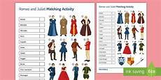 gcse romeo and juliet lower ability word and picture matching worksheet