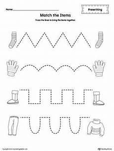 matching items tracing prewriting worksheet printable preschool worksheets pre writing