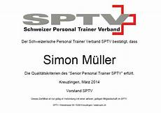 Zertifikat Personal Trainer Verband Sptv Simon