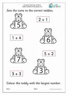 addition worksheets reception 9020 using the add sign teddies