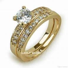 18k gold fileed womens engagement wedding ring set lab