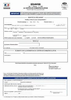 Declaration De Perte De Certificat D Immatriculation