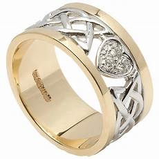 celtic ring 14k white gold with yellow gold trim diamond encrusted heart wedding band