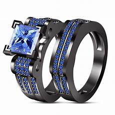 blue sapphire 14k black gold plated 925 silver his hers trio wedding ring set cz moissanite