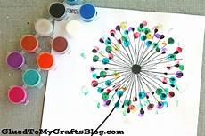 Leinwand Gestalten Diy - thumbprint dandelion kid craft w free printable glued