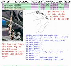 e39 electrical problems traced to trunk lid harness wire chafing diy diagnostic bimmerfest