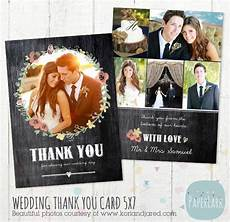 thank you cards photoshop templates wedding thank you card photoshop template aw012 instant