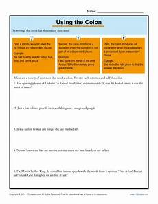 using the colon punctuation worksheets