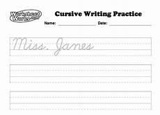 courtney mann etc personalized cursive worksheets