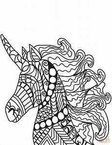 unicorn zentangle coloring page free printable coloring
